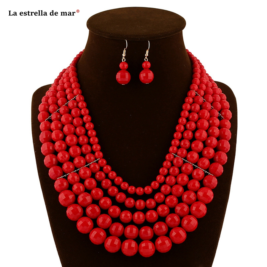 Women earring and necklace sets latest red champagne blue purple african necklace cheap nigerian beads necklace jewelry set