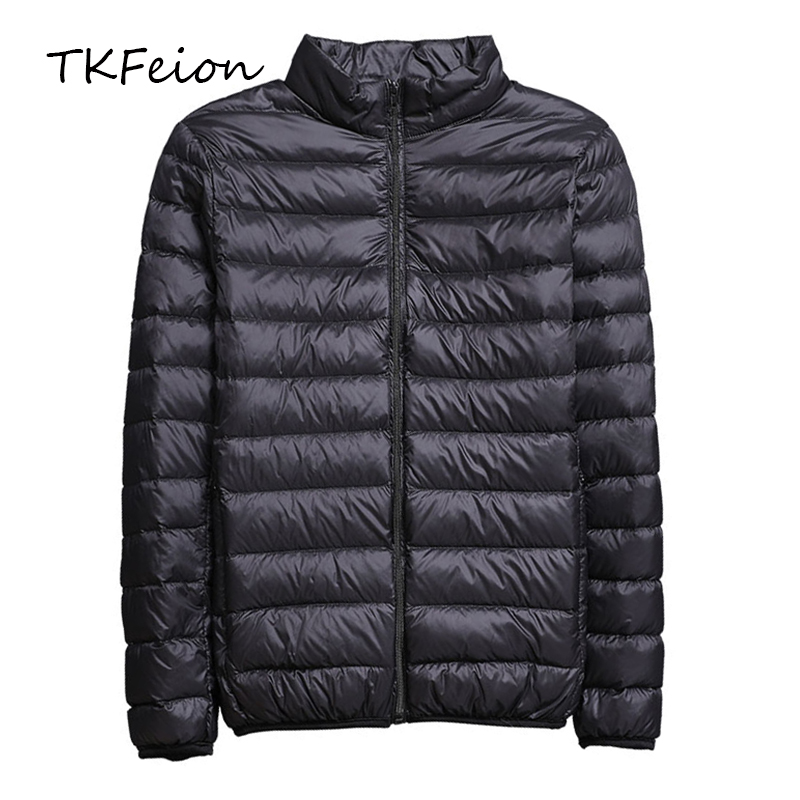 2019 Spring/Autumn Mens Slim Jackets Fashion Lightweight Portable Stand Collar Plus Size 5XL Male Duck Down Coats Clearance Sale