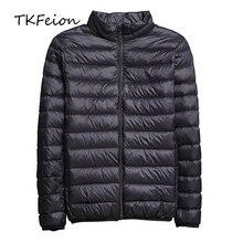 2019 весна/осень мужские тонкие куртки мода легкий портативный стенд воротник плюс размеры 5XL мужской пуховики распродажа