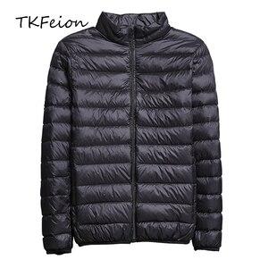Image 1 - 2019 frühling/Herbst Männer Nehmen Jacken Mode Leichte, Tragbare Stehkragen Plus Größe 5XL Männliche Ente Unten Mäntel Freiheit verkauf