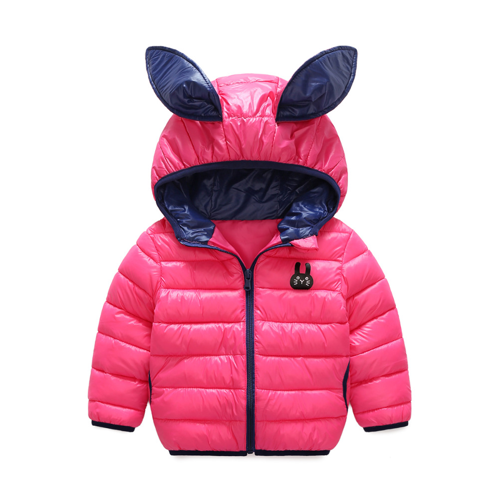 2017 new children s clothing cute rabbit ears modeling down jacket hooded girl short paragraph down