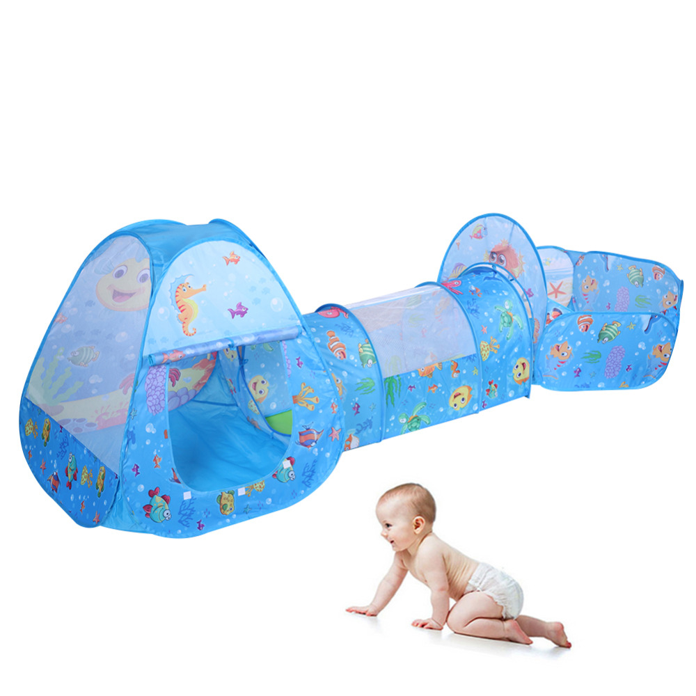 3Pcs Pool-Tube-Teepee Baby Play Tent House Foldable Ocean Ball Pool Kids Crawling Tunnel Tube Portable Playing House Tent цены онлайн