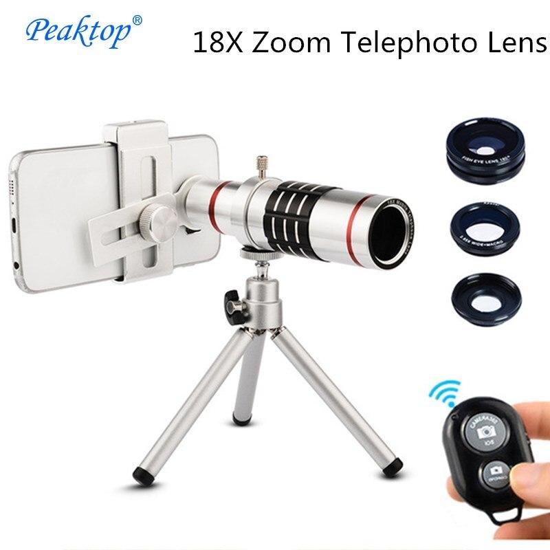 Универсальный 18x Монокуляр телефото зум-объектив Fisheye Широкий формат макро телескоп с зажимом Штатив для смартфонов комплект телефон объек…