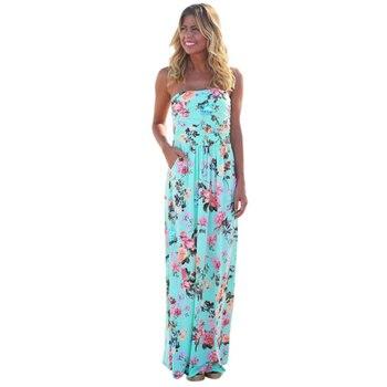 Fresh Natural Beauty Floral Print Sleeveless Sundress Sweet Ankle-Length Strapless Dress Women Holiday Blue Elegant Dress FUO#68 summer floral long dresses