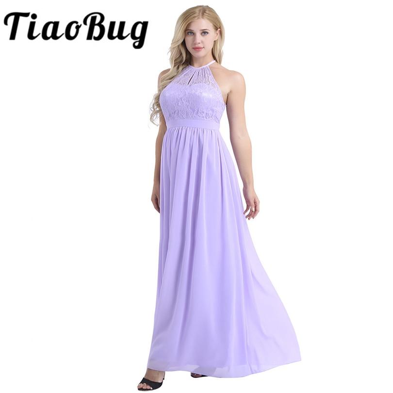 Women Ladies High Neckline Halter Lace Floral Bridesmaid Dress Sleeveless A-line  Chiffon Elegant Wedding 1a34fe4d0eaf