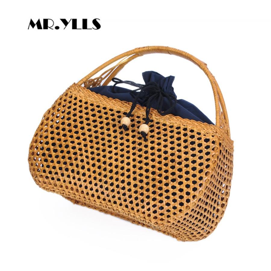 лучшая цена 2018 Summer Bohemian Straw Bags Hollow Bamboo Handmade Woven Beach Bag Fashion Women Handbag Bali Vintage knitting Women Tote