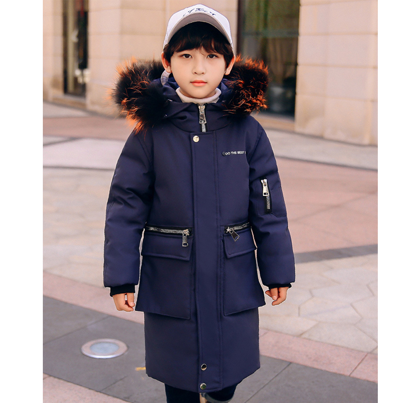 -30Dgree Duck Down Children Winter Jacket Boy Winter Coat Kids Warm Thick Fur Collar Hooded long down Coats For Teenage 4Y-14Y boy winter long warm down jacket boy simple fashion warm down jacket boy big fur collar thick coat boy solid color coat