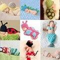 Новорожденный крючком костюм фотография реквизит вязание ребенка шляпу лук младенческая baby фотография реквизит новорожденный девушки милые наряды