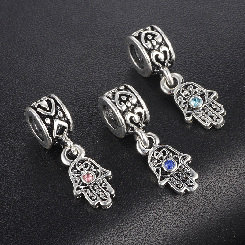 CUTEECO Hand Palm & Evil Eye Pendants Charms Beads European DIY Bead  Fit Pandora Bracelets Necklace