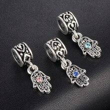 CUTEECO Hand Palm & Evil Eye Pendants Charms Beads European DIY Bead  Fit Pandora Bracelets Necklace