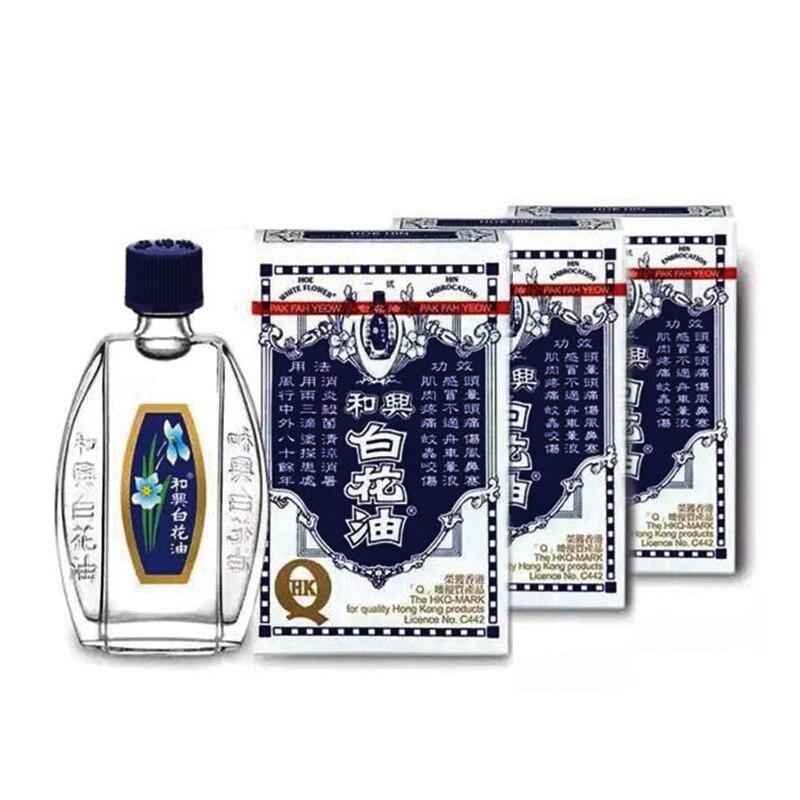 3 bottle Hoe Hin White Flower Analgesic Medicated Oil for pain relief size 20 ML