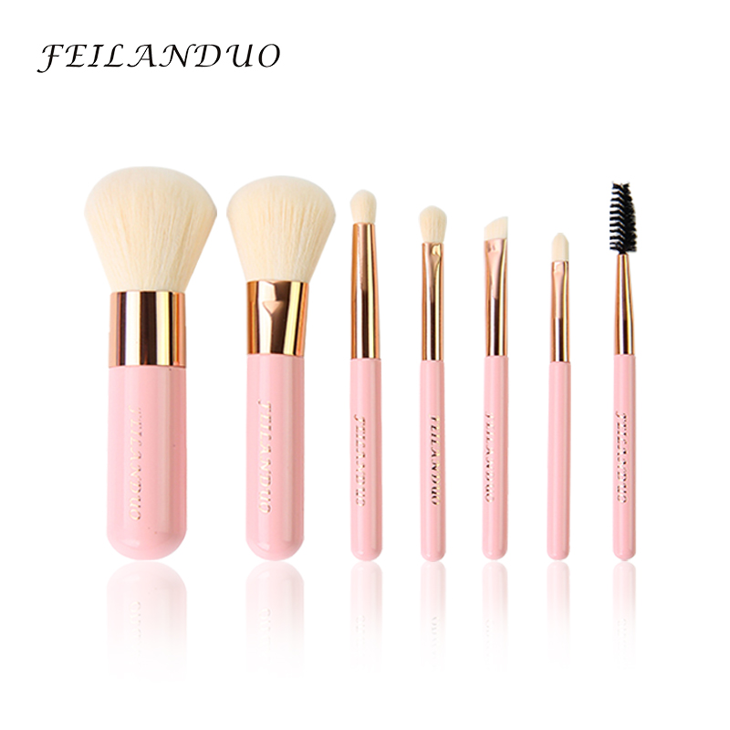 цена на FEILANDUO Professional Makeup Brush Set 7 Pcs High Quality Makeup Tools Kit Violet Make Up Brushes Cosmetics Tool