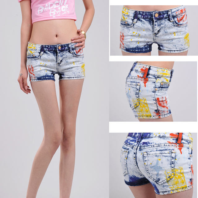 2013 fashion star style elastic slim denim shorts multi color personalized colored drawing