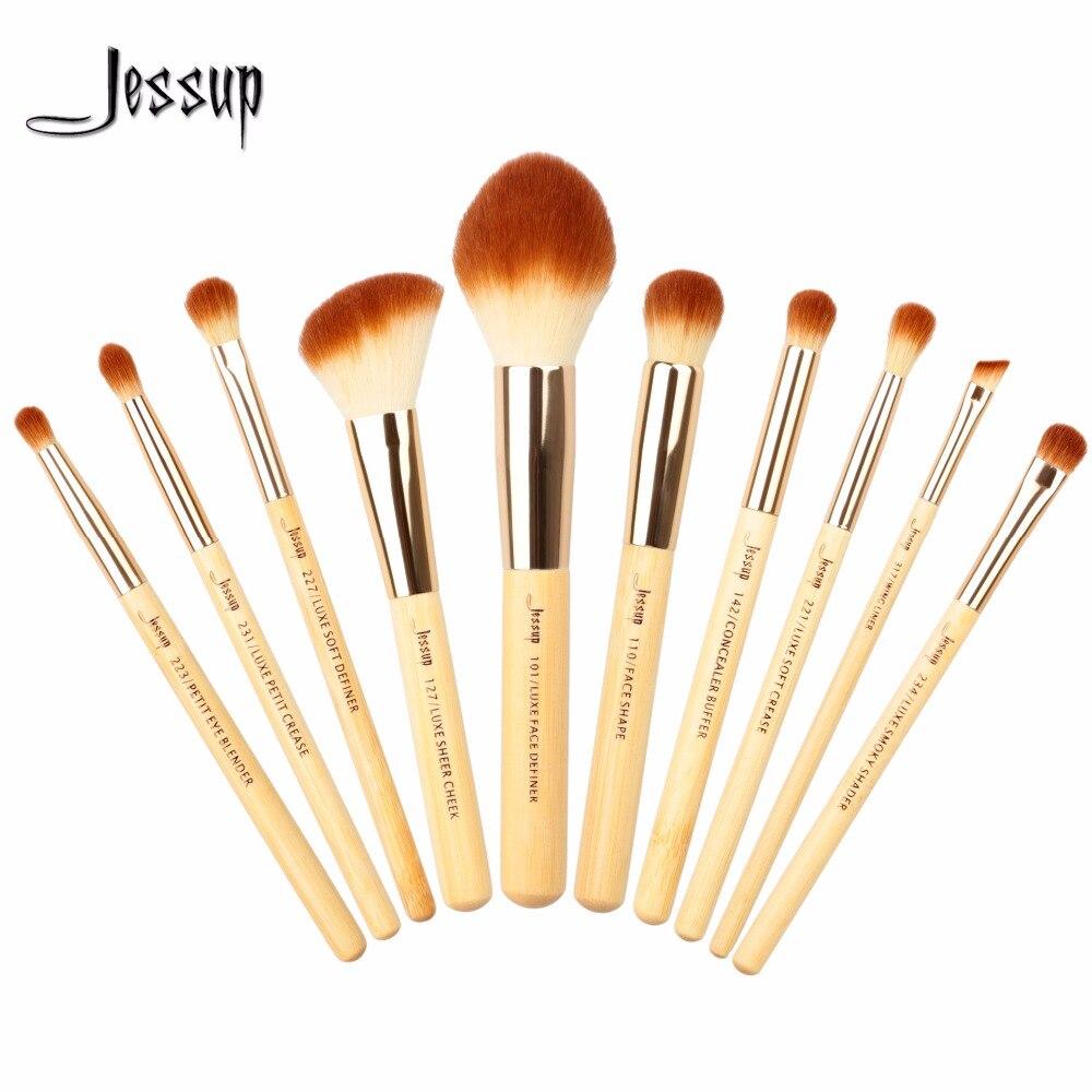 2017 jessup brushes 10pcs Beauty Bamboo Professional Makeup Brushes Set Brush Tools kit Foundation Powder T143