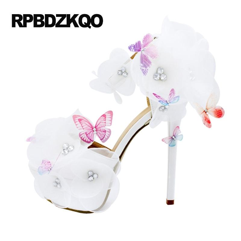 ef9dddf5f9f3 Women Pumps Bride Fetish Wedding Sandals Super High Heels Ankle Strap  Crystal Extreme Open Toe 14cm