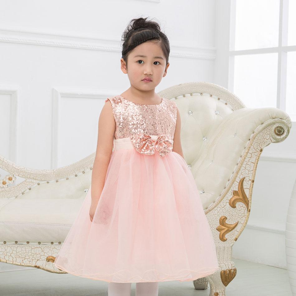 Kids Sequin Flower Girls Floral Dress Kids Pageant Party Wedding Ball Gown Princess Chiffon Fluffy Girls Dress