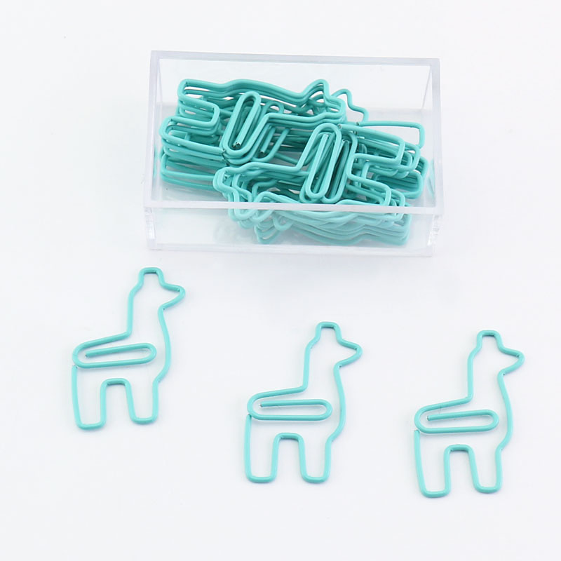 20pcs/box Light Green Alpaca Shape Paper Clips Plastic Coated Processing Funny Bookmark Office Shool Stationery Marking Clips