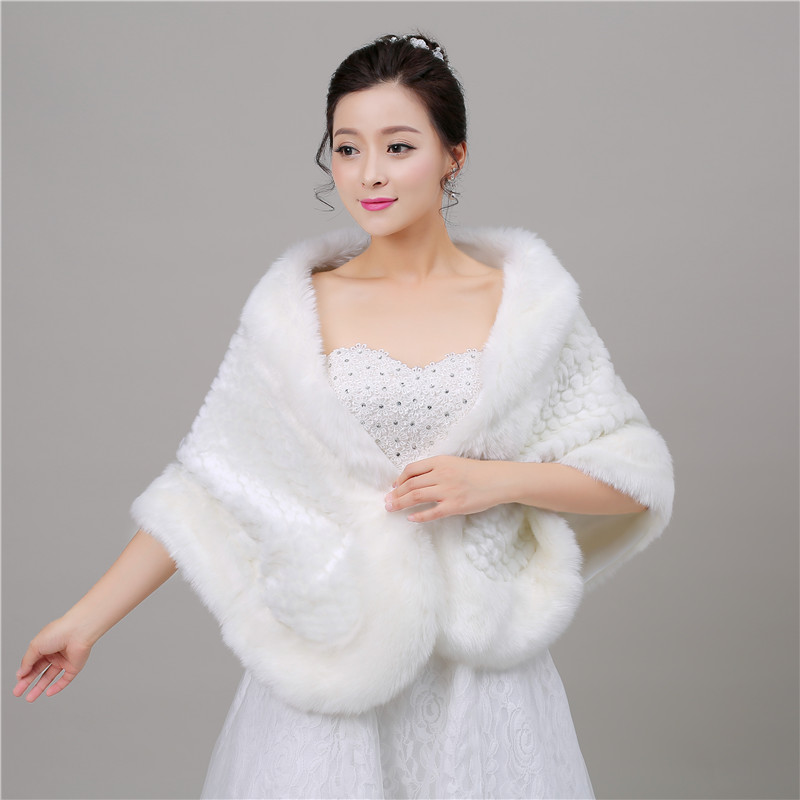 2018 New Fashion Autumn Faux Fur Wedding Wrap Bolero Jackets Bridal Coat Cape Cloak Shawls Scarves