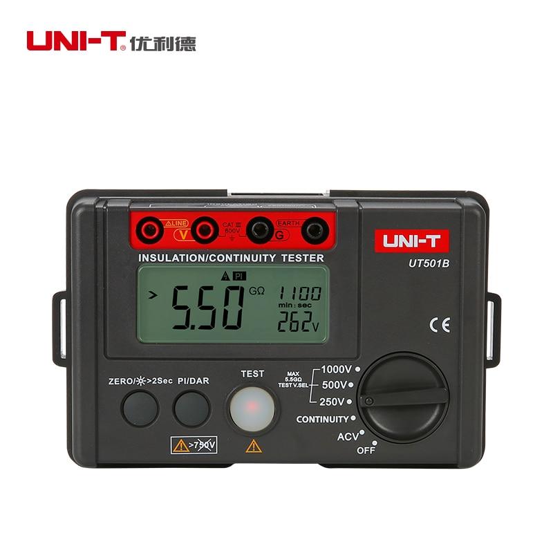 UNI-T UT501B Digital Insulation Resistance Testers Ground Meter Megohmmeter Voltmeter w/LCD Backlight Earth Tester Megger