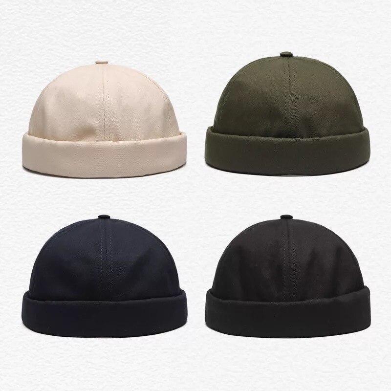 Unisex Docker Sailor Biker Cap Men Adjustable Casual Brimless Skull Loop Beanie Hat Solid Men Hat Summer Gorro Women's Hats