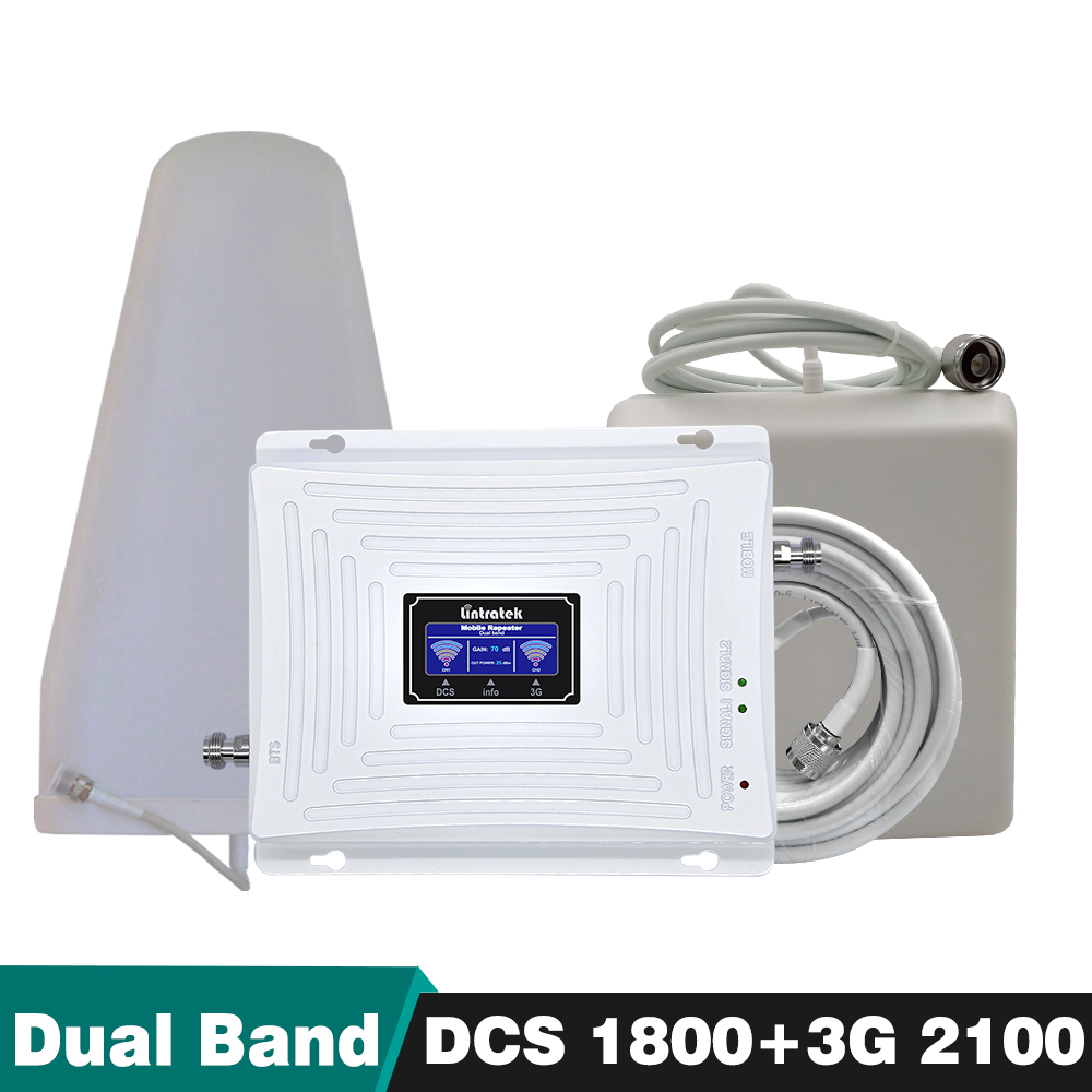70dB Guadagno 20dBm Dual Band 4g DCS/LTE 1800 Fascia 3 + Band 1 3g WCDMA 2100 mhz Mobile Del Segnale Del Telefono Cellulare Ripetitore Del Ripetitore set completo