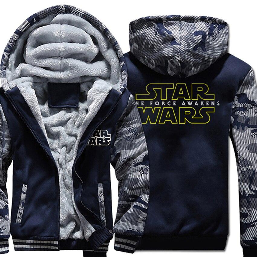 Winter star war wool liner Hoodies Casual fleece man 39 s Hooded Coat men dark blue Thicken Zipper Jacket Sweatshirt 2019 tracksuit in Hoodies amp Sweatshirts from Men 39 s Clothing