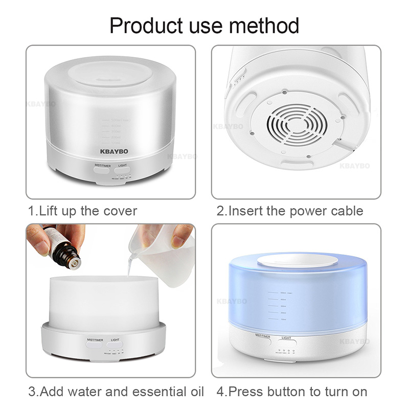 500ml Ultrasonic Air Aroma Humidifier Electric Aromatherapy Essential Oil Aroma Diffuser with Bluetooth Music Speaker