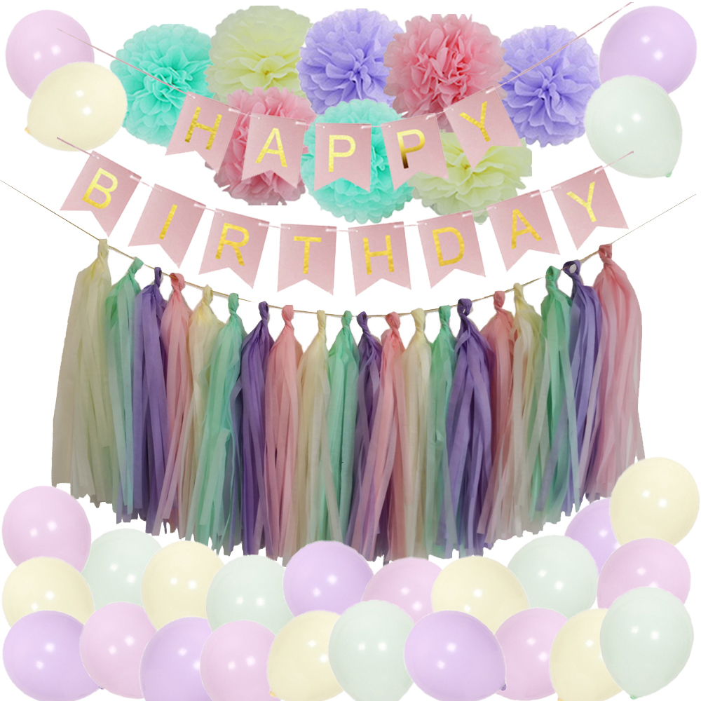 Macaron Color Party Balloons Happy Birthday Banner Pastel