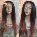 Sin cola llena del cordón pelucas de cabello humano brasileño ombre color de dos tonos # 1bT #33 ombre recta peluca delantera del cordón para las mujeres negras pelucas