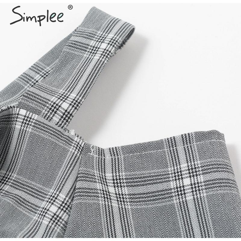 Simplee V-neck plaid sash belt women dress Spaghetti strap button office ladies dress Autumn winter female short party dress 15