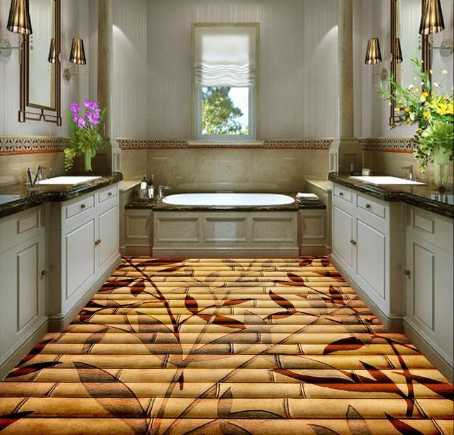3d vloeren Woondecoratie Bamboe bloemen 3D floor pvc zelfklevende ...