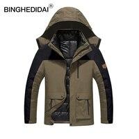 BINGHEDIDAI męska Kurtki Wodoodporne Płaszcze z Kapturem Wiosna Mężczyźni Kobiet Outerwear Army Solidna Casual Marka Mężczyzna Odzież PL1689