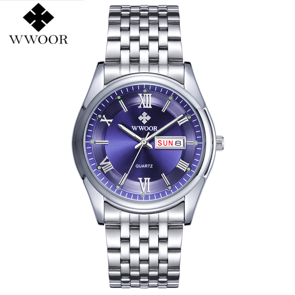 2017 WWOOR Luxury Business Watch Mens Luminous Analog Calendar Stainless Steel Quartz Wristwatch Classic Male relogio masculino time2u mens formal business ultrathin quartz watch wristwatch with classic design