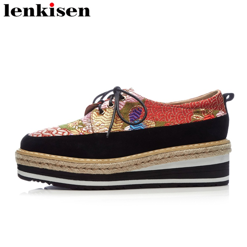 Lenkisen 2018 runway round toe slip on silk embroidery platform brand causal shoes wedges mixed colors increased women pumps L66