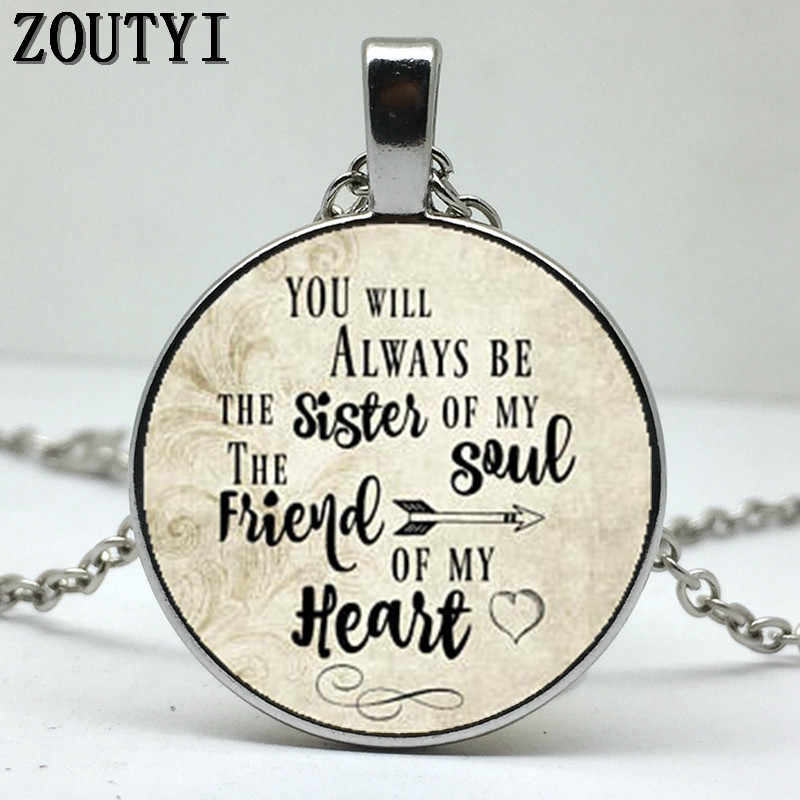 Siempre serás mi hermana colgante de ALMA, collar de encanto inspirador, hermana del alma... Mi corazón amigo, regalo a amigo