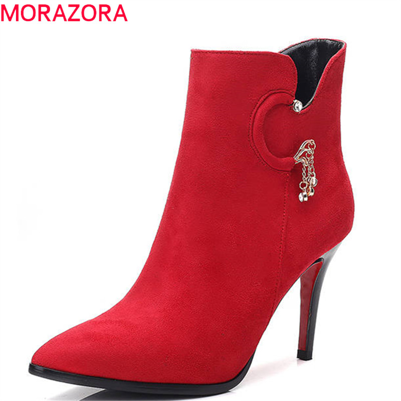 MORAZORA 2018 plus size 34-40 simple zipper suede leather ankle boots for women short plush autumn boots sexy high heels shoes bacia genuine leather boots short plush women shoes black simple style ankle boots with zipper handmade high quality shoes vd021