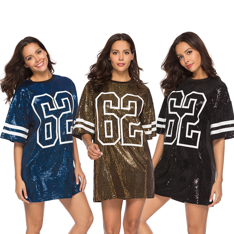 Women Ladies Sequins V Neck T-shirt Clubwear Casual Loose Party Short Sleeve Tee