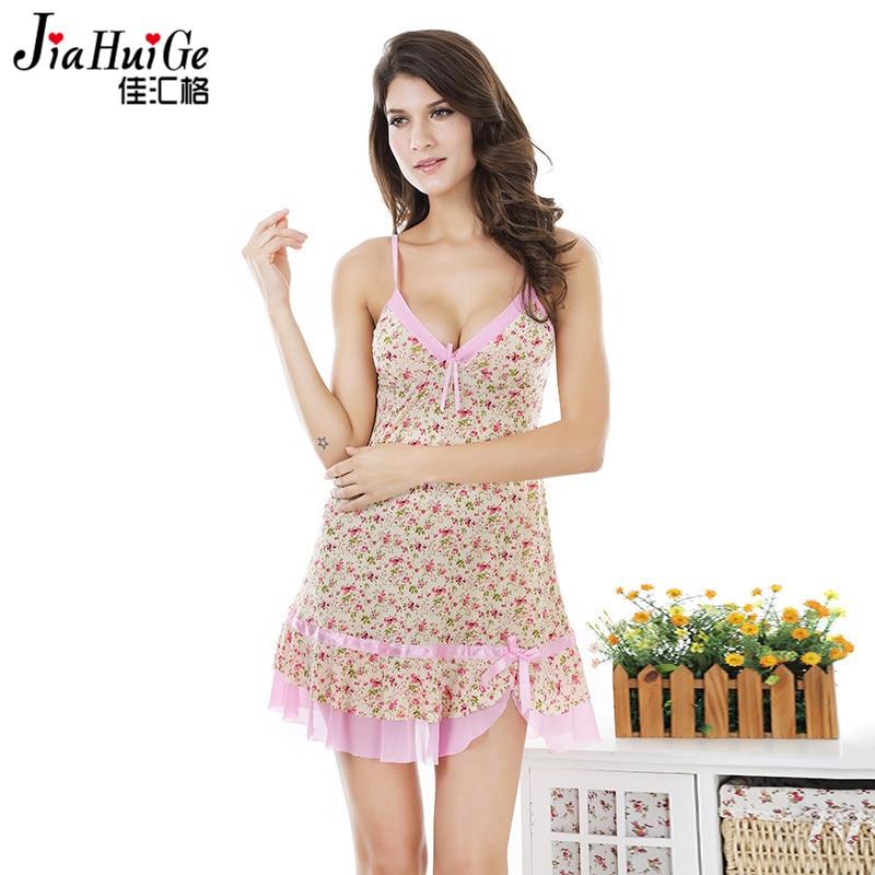 JiaHuiGe 2017 Sexy Lingerie Women Nightwear Summer Nightwear for Women Nightgowns Sleepshirts Cotton Dress Sleepwear Underwear