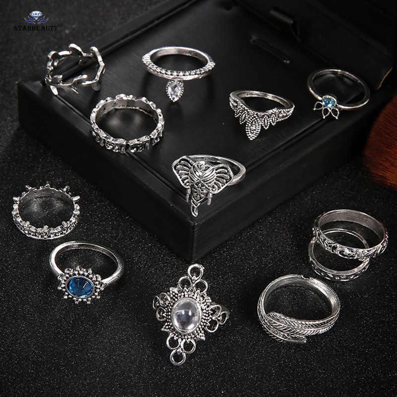12 ピース/ロットレトロ葉青ビジュー象指輪男性つま先リングセット結婚指輪トーリング女性のためのピアスボディジュエリー