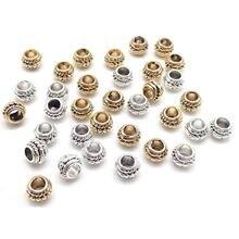 Lote de 30 unidades de abalorios espaciadores ovalados de aleación de Zinc, Plata tibetana/oro, collares hechos a mano, pulseras, accesorios de Metal, fabricación de joyas DIY