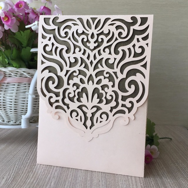 50pcs Glossy Pearl Paper Handmade Wedding Invitations Decoration Best Wishes Card Birthday Party Invite Greeting Blessing
