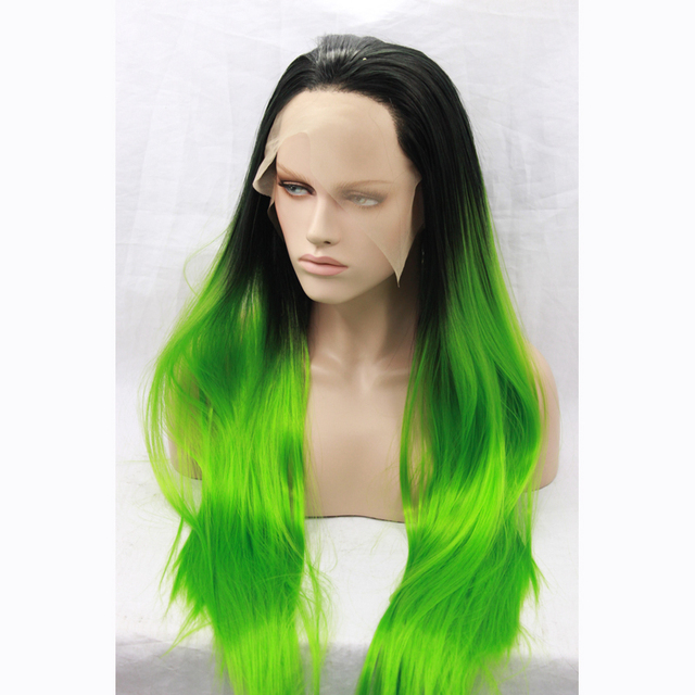 Black Ombre Green Wig For Black Women Cheap Synthetic Quality Lace Front  Straight Long Wigs Heat Resistant Bright Colored Wigs 0884aec6dd55
