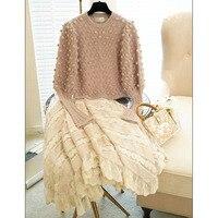 Svoryxiu High End Пользовательские Зимняя шерстяная одежда пуловеры Для женщин Фонари рукавом ручного производства Hairball дизайнер сладкий Вязание