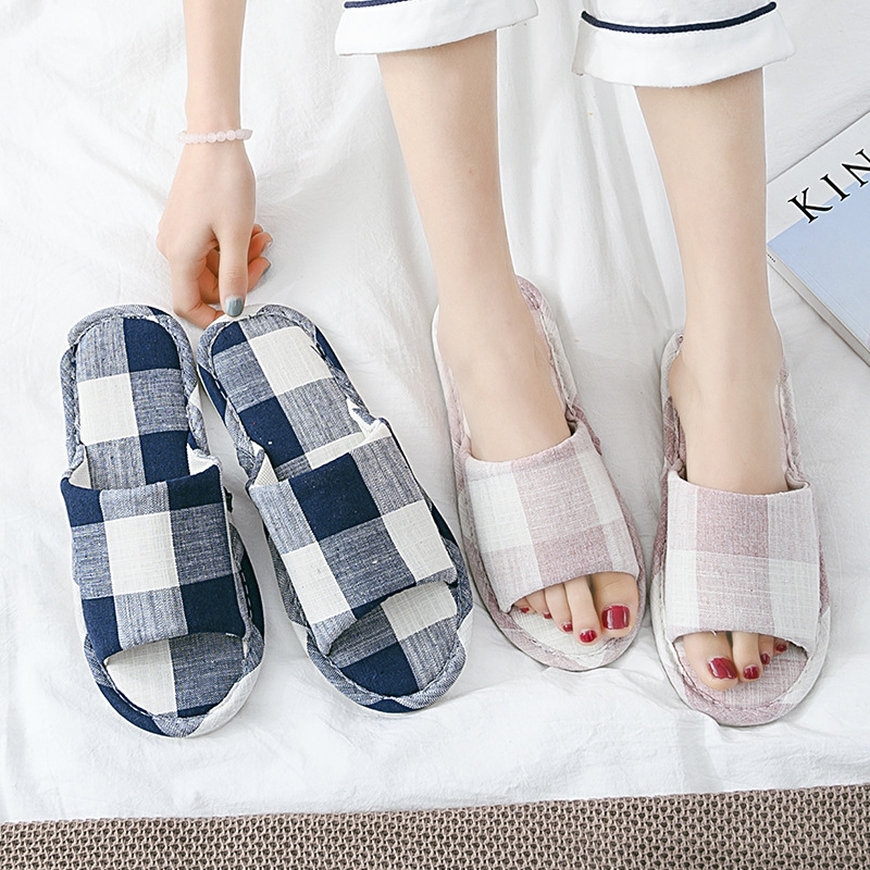 And Summer Male And Female Couples Indoor Plaid Art Home Slippers Non-slip Wear Resistant Floor Linen Slippers For Home Use