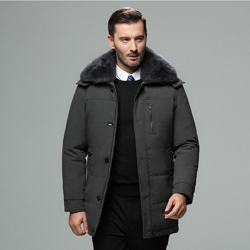 Fourrure Chaud Black Qing Col Mâle grey brown Le Hommes 2018 D'hiver Haute Veste Épaisse Vers Bas De Qualité zang Vêtements 0pUvwqB