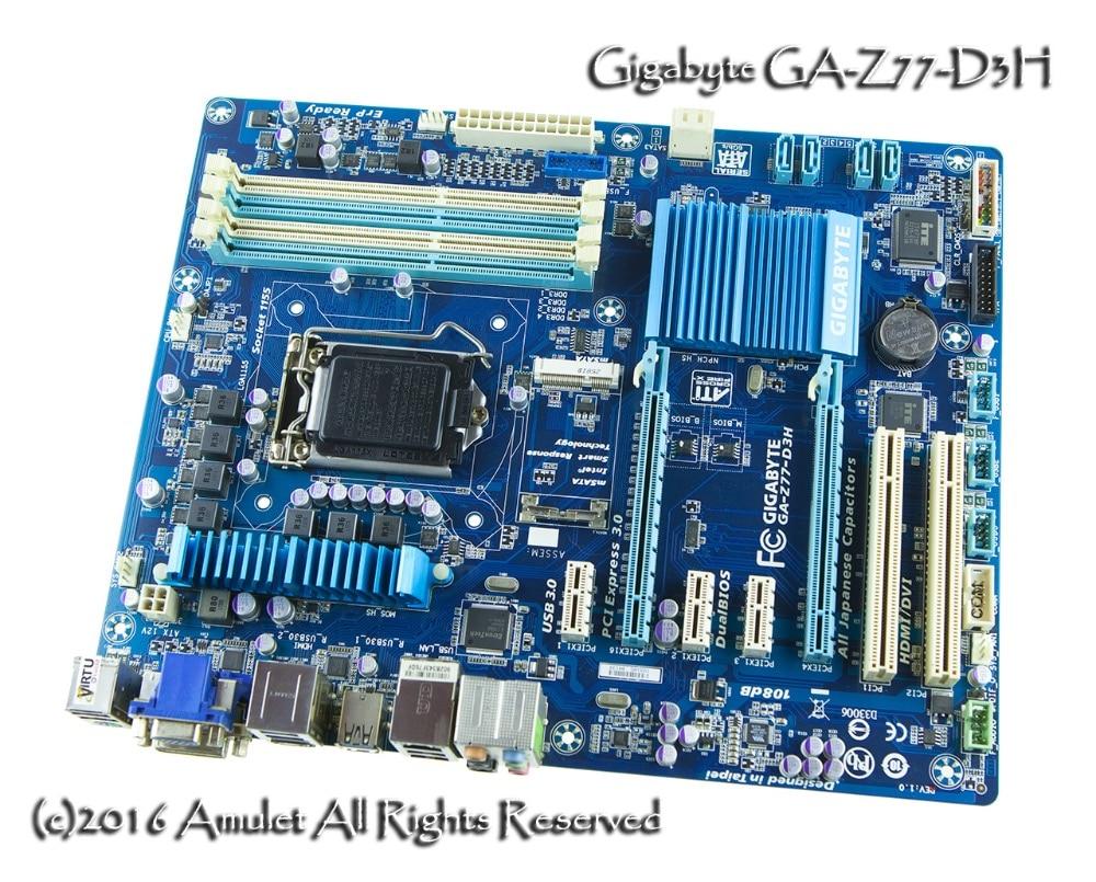 original motherboard Gigabyte GA-Z77-D3H LGA 1155 DDR3 Z77-D3H 32GB for I3 I5 I7 22nm cpu USB2.0 USB3.0 Z77 desktop motherboard