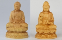 Wood carved sit lotus net bottle Guanyin Bodhisattva Buddha statue home decoration ornaments security peace(A242)