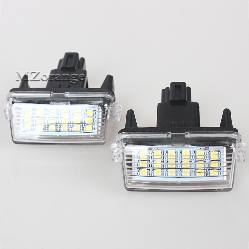 2Pcs Car LED License Plate Lights 12V Number Plate Lamp Canbus Bulb Kit For Toyota Corolla Yaris Camry Vios Hybrid 2x car led license plate lights 12v smd3528 led number plate lamp bulb kit for toyota crown s180 corolla vios previa accessories
