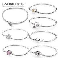 FAHMI 100% стерлингового серебра 925 1:1 MOMENTS двухцветные подписи Сверкающее сердце розовые очаровательные цветы дикого цветка луга браслет
