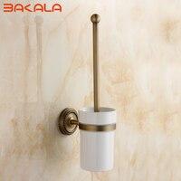 Freeshipping Antique Brass Toilet Brush Holder European Style Carving Toilet Brush Cup Holder GZ9008
